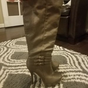 Shoes - Taupe gray high heel platform boots - sexy!!